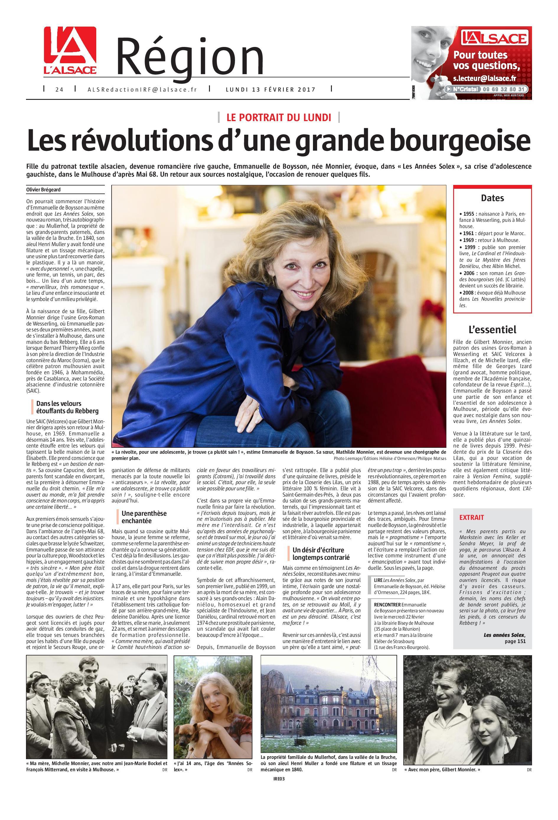 Emmanuelle de Boysson dans L Alsace du 13 février 2017-page-001